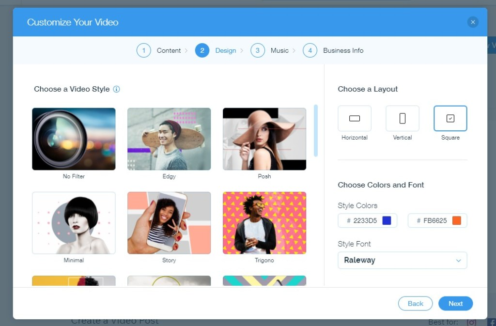 Customizing your video in Wix Video Maker