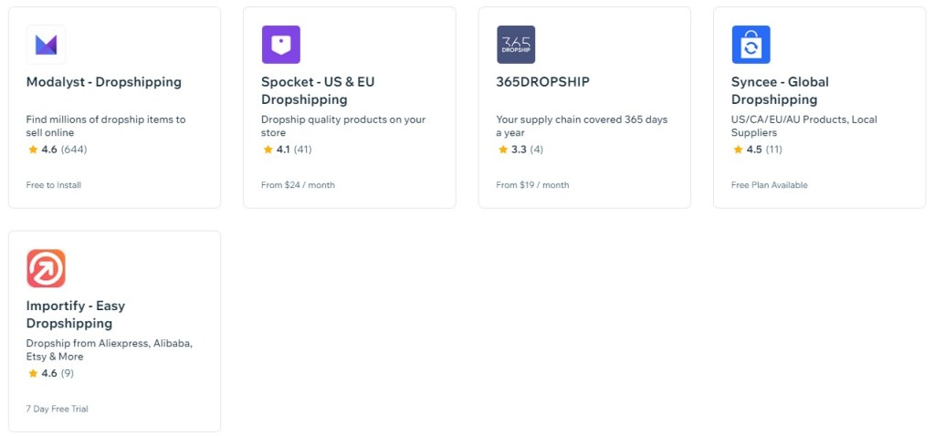 Wix dropshipping apps