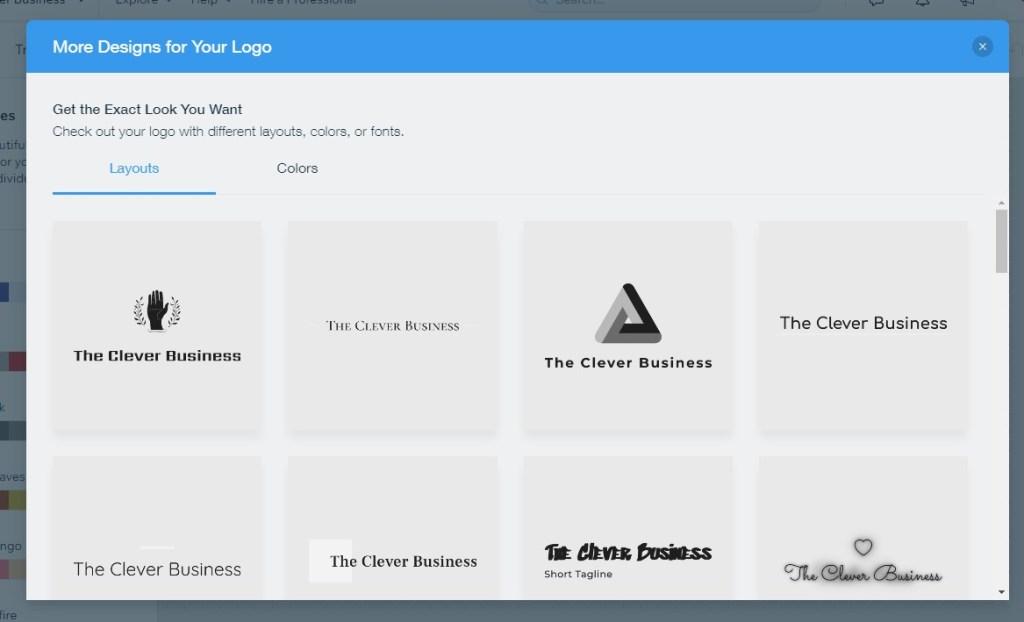 Wix logo design layouts