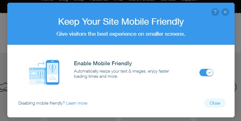 Wix mobile friendly