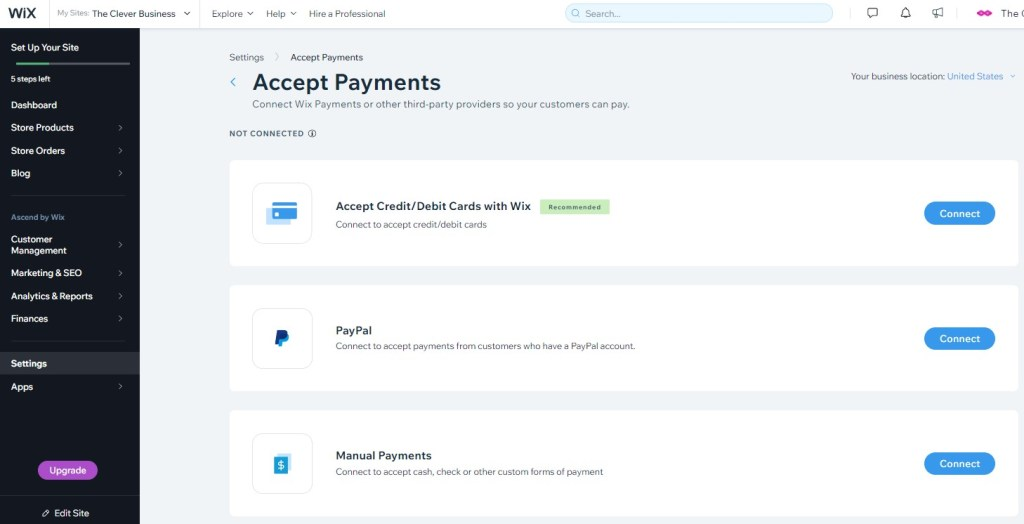 Wix Accept Payments Settings