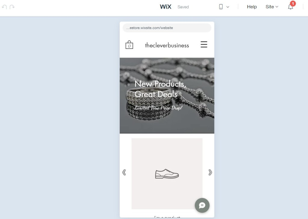 Previewing Wix site on mobile