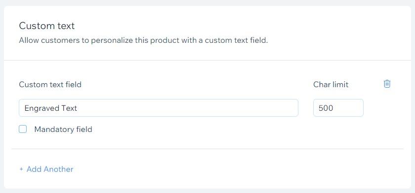 Wix product custom text fields