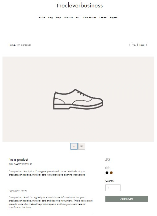 Wix product page design