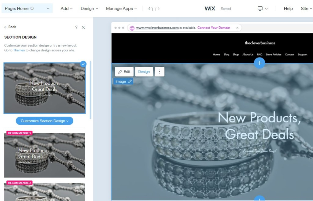 Designing sections in the Wix ADI editor