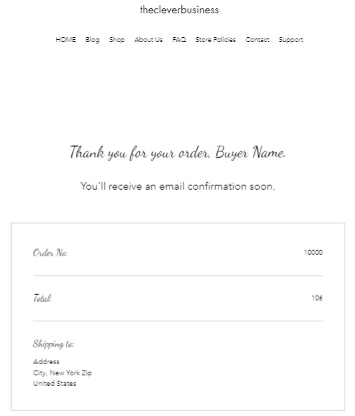 Wix thank you page design