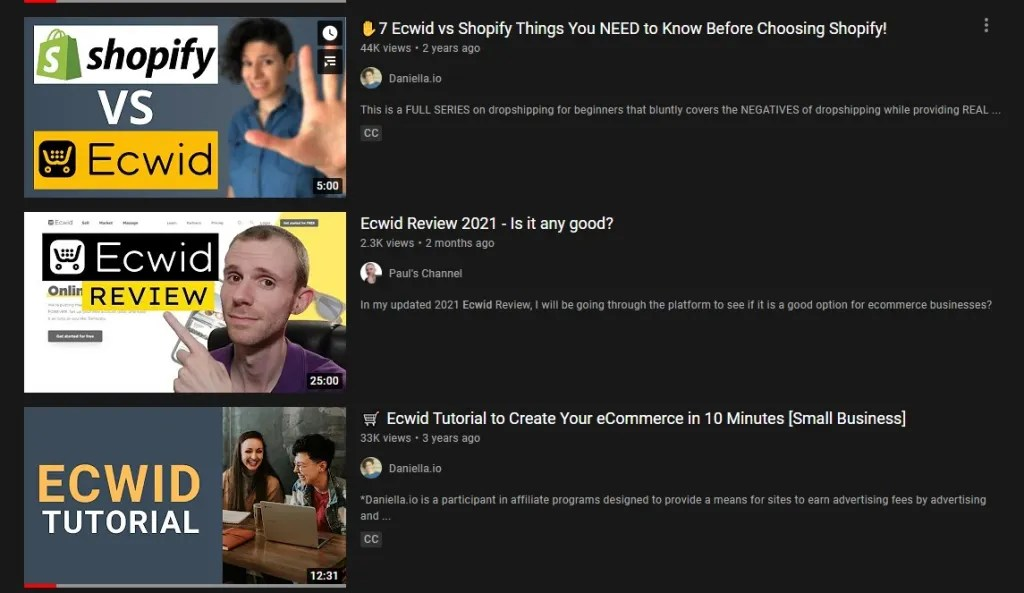 YouTubes making videos about Ecwid