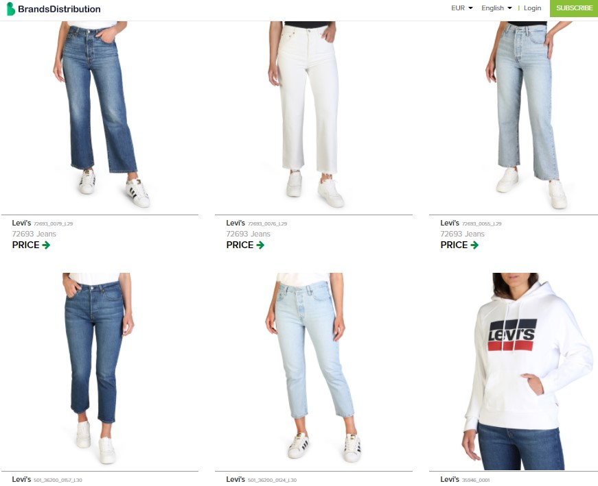 Clothing dropshipping products on BrandsDistribution