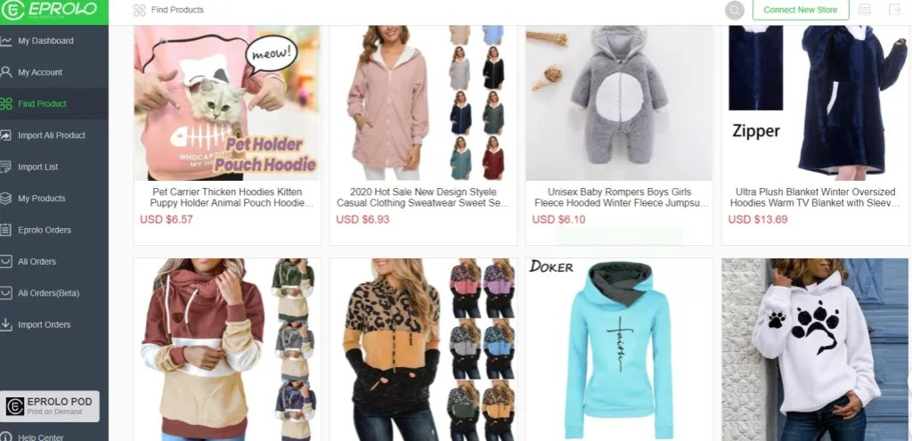 Clothing dropshipping products on EPROLO