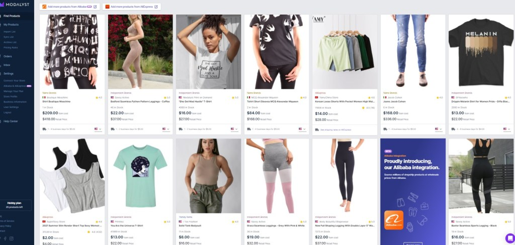 Clothing dropshipping products on Modalyst