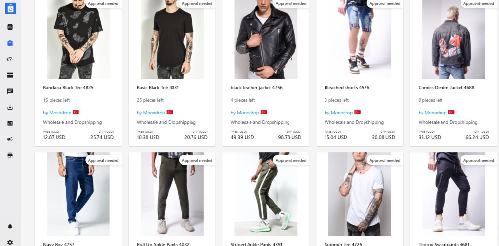 Clothing dropshipping products on Syncee