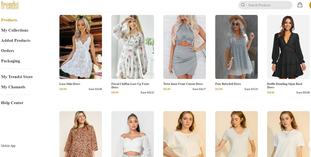 Clothing dropshipping products on Trendsi