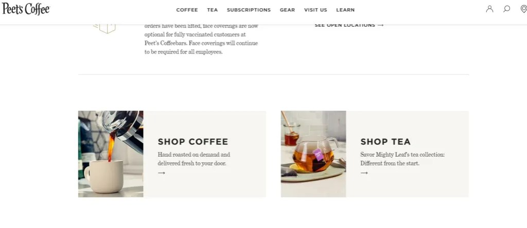 Store selling both coffee and tea examples