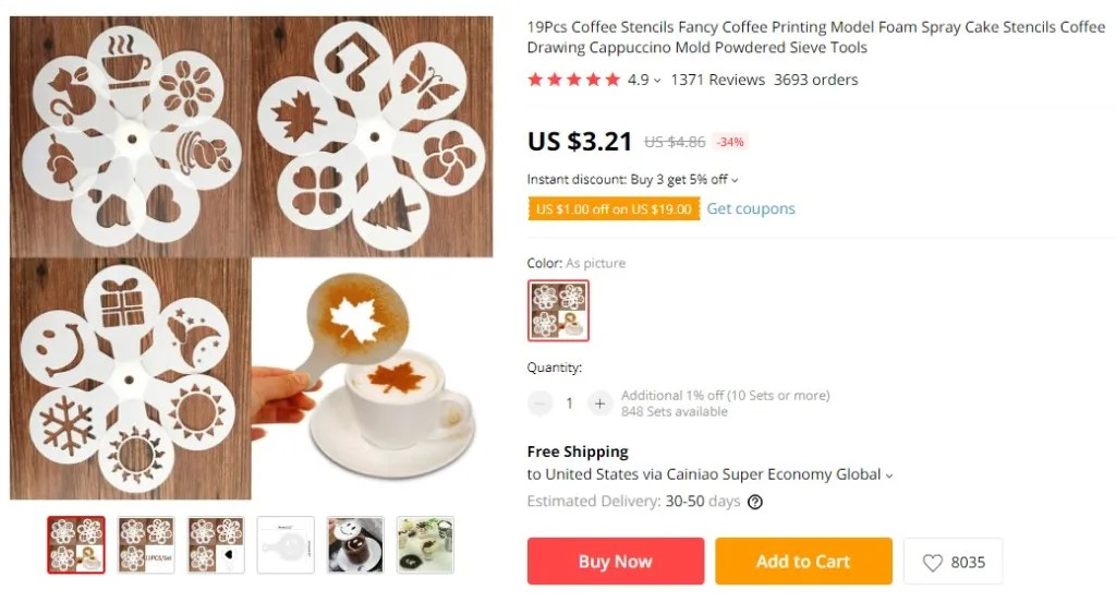 Coffee stencil dropshipping product example