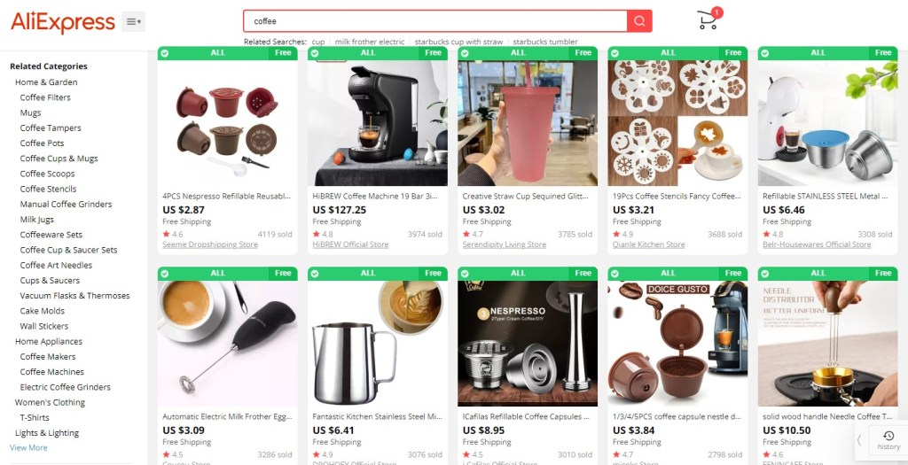 Coffee dropshipping products on AliExpress