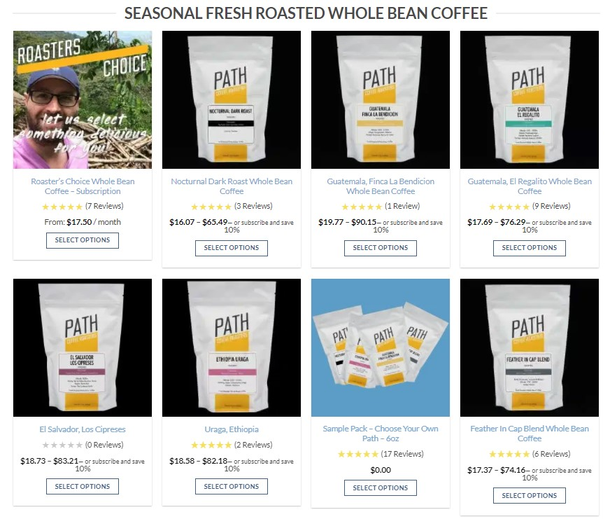 Coffee dropshipping products on Path Coffees