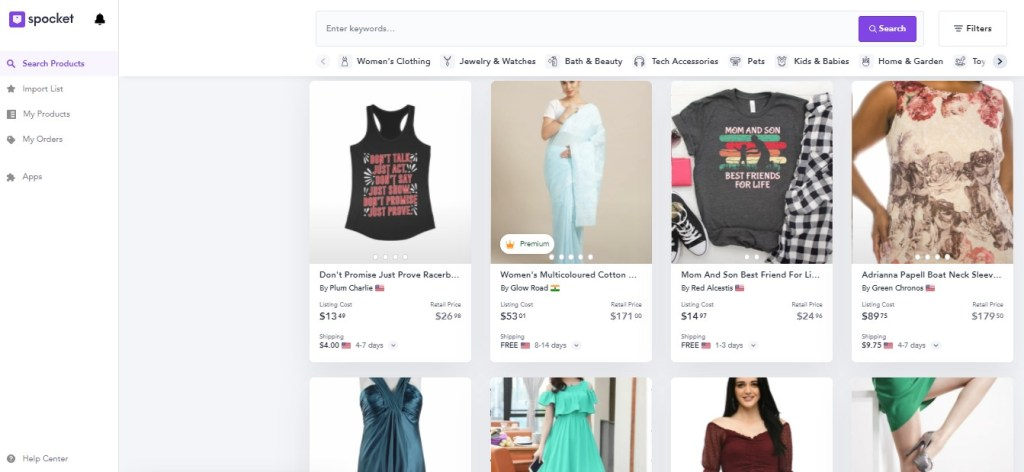 Clothing dropshipping products on Spocket