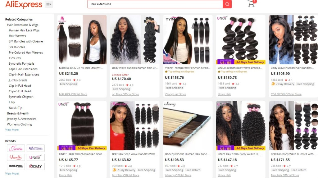 Example high-ticket dropshipping products in the hair extensions niche