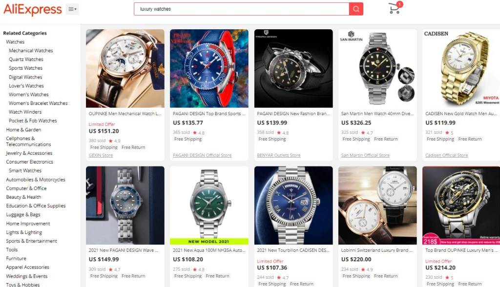 Example high-ticket dropshipping products in the luxury watches niche