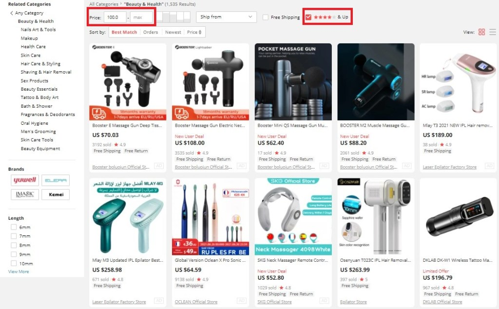 Filtering high-ticket dropshipping products on AliExpress