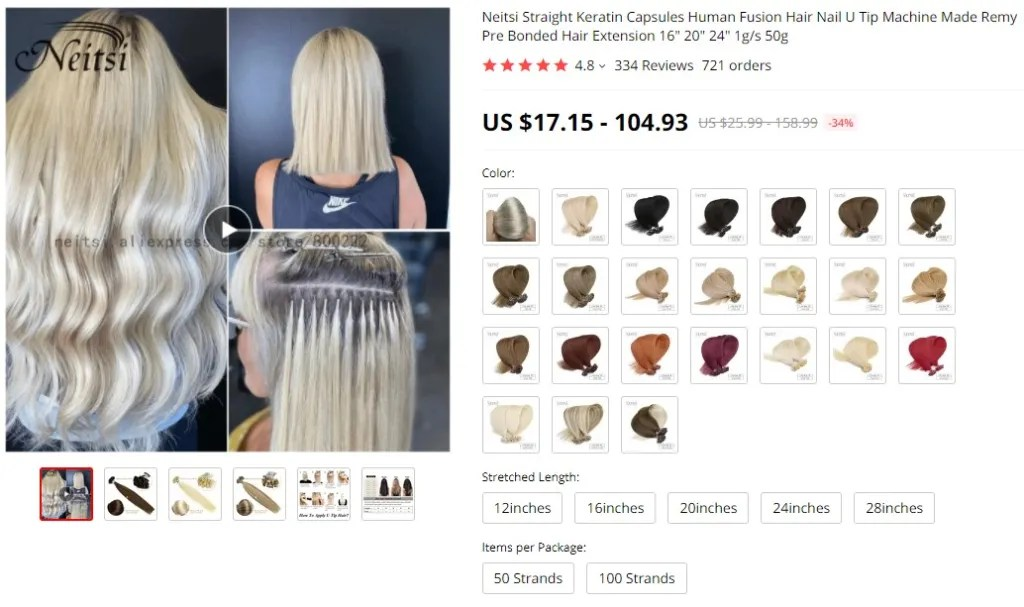 Fusion hair extensions dropshipping product example