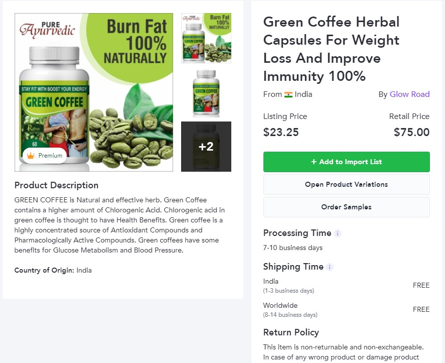 Green coffee dropshipping product example