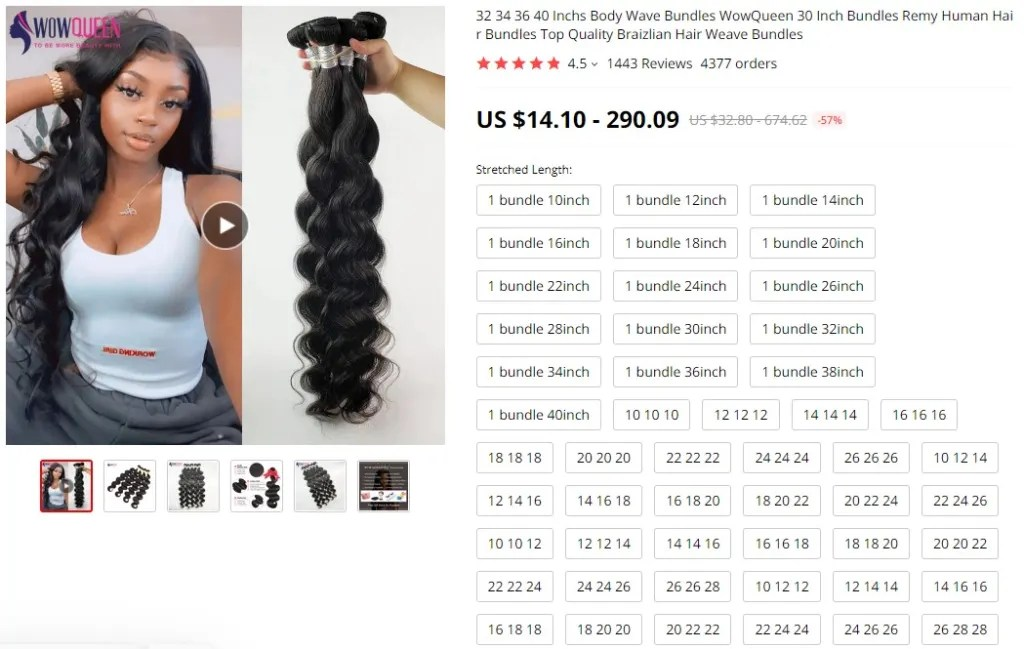 Hair weaves dropshipping product example