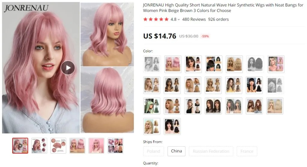 Hair wigs dropshipping product example