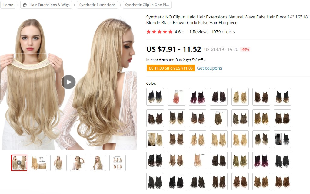 Halo hair extensions dropshipping product example
