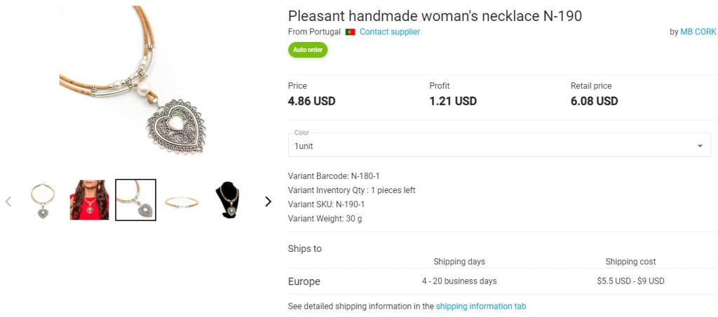 Handmade jewelry dropshipping product example