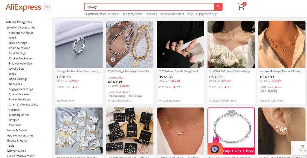Jewelry dropshipping products on AliExpress