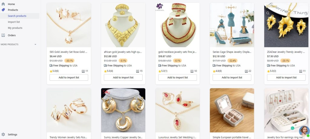 Jewelry dropshipping products on Automizely