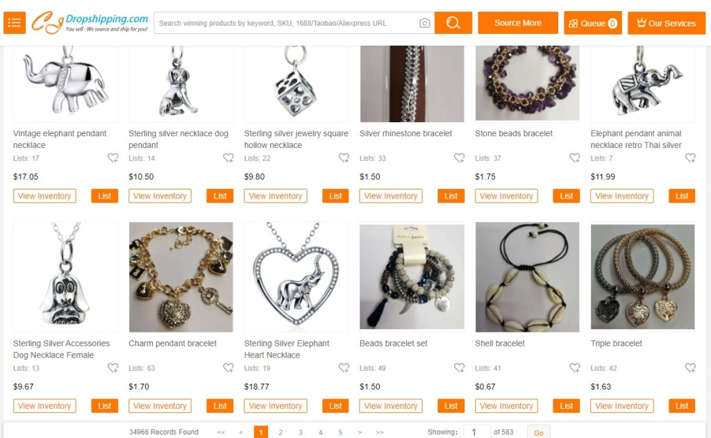 Jewelry dropshipping products on CJDropshipping