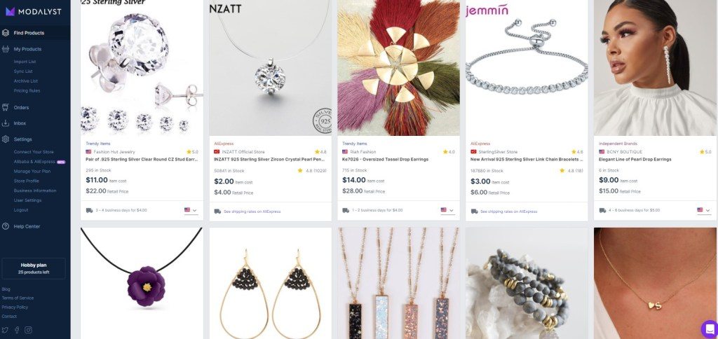Jewelry dropshipping products on Modalyst