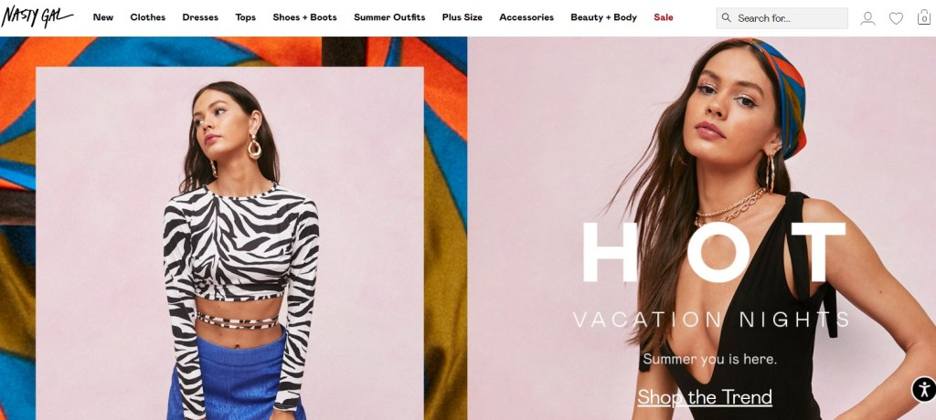Nasty Gal clothing dropshipping store