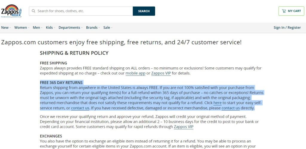 Offer free returns & refunds