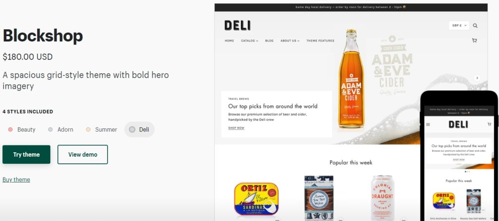 Shopify Blockshop theme for coffee dropshipping