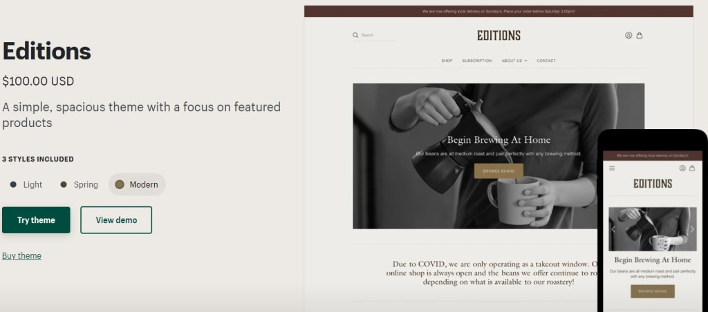 Shopify Editions theme for coffee dropshipping