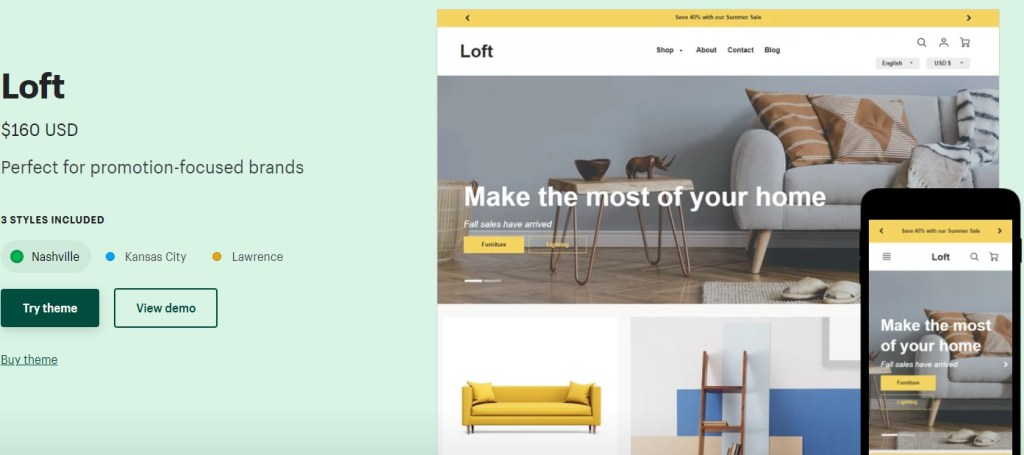 Shopify Loft theme