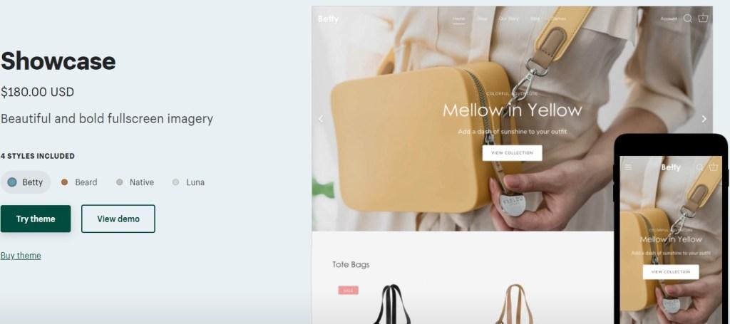 Shopify Showcase theme