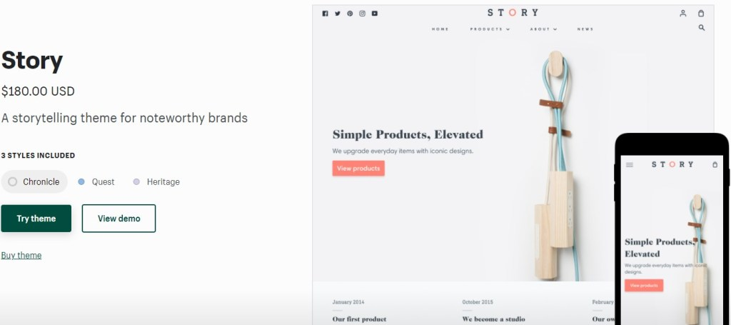 Shopify Story theme for coffee dropshipping