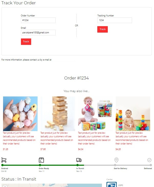 Shopify order tracking page example