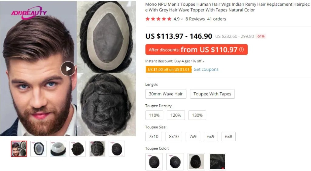 Toupees dropshipping product example