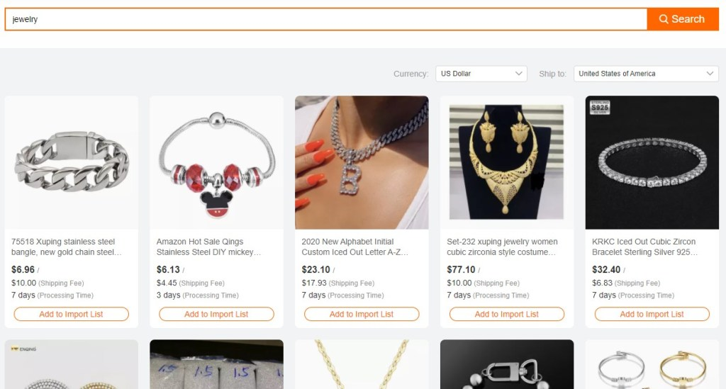Alibaba dropshipping product search results