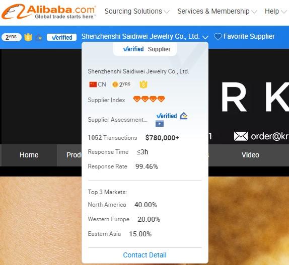 Alibaba supplier information