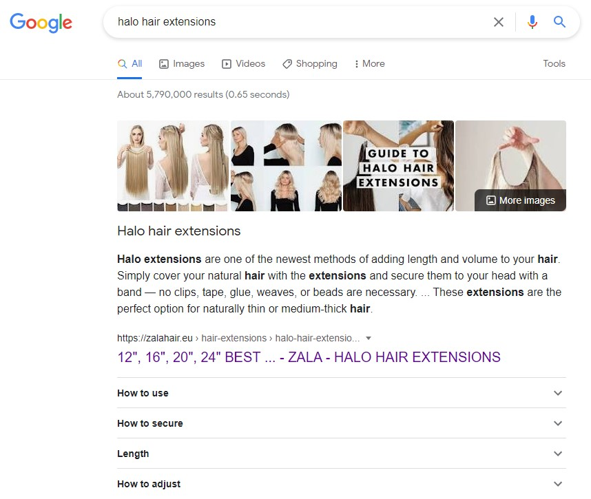 Example SEO search result for high-ticket dropshipping products