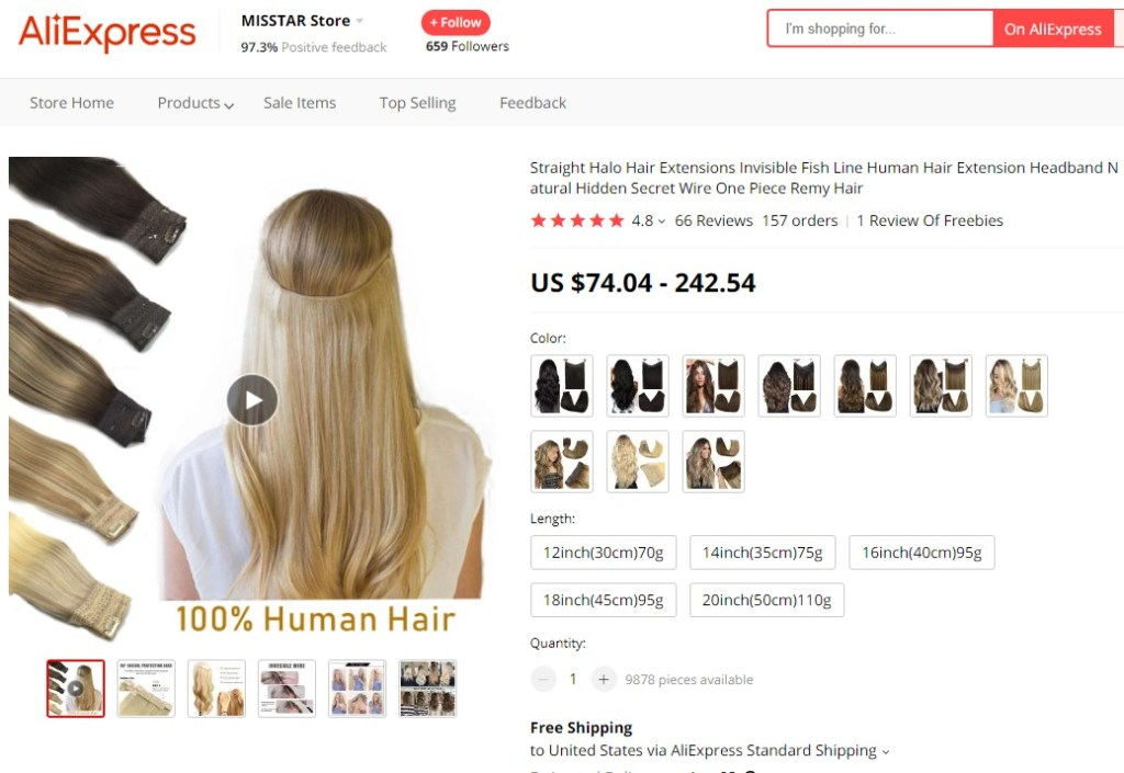 Human halo hair extension high-ticket dropshipping product