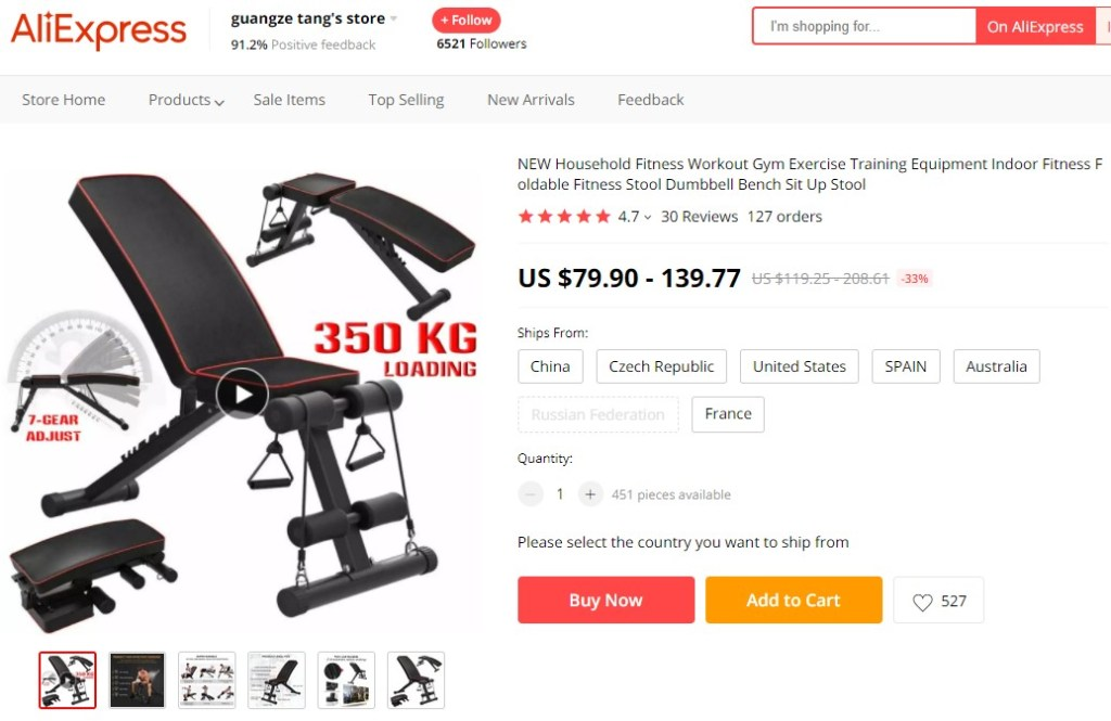 Indoor foldable fitness bench high-ticket dropshipping product