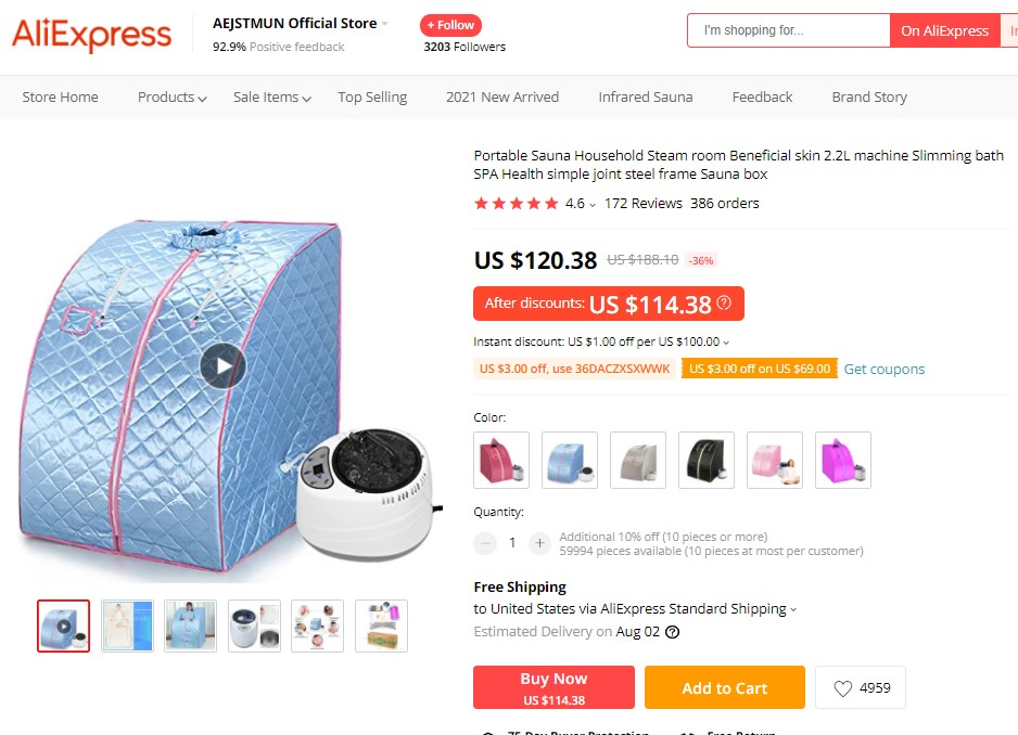 Portable steam sauna high-ticket dropshipping product