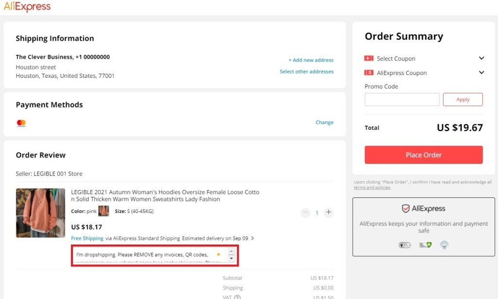 Add notes to AliExpress sellers about blind dropshipping